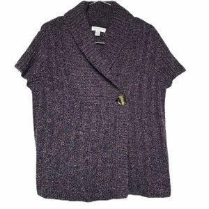 3/$30 Charter Club Wool Cable Knit Purple Cardigan